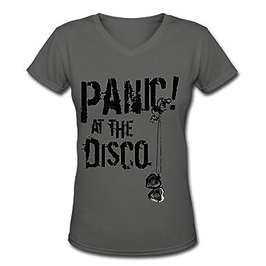 8fc7bb14 Amazon.com: Panic! At The Disco Logo Tour Woen's Novelty V-Neck T-Shirts:  Clothing