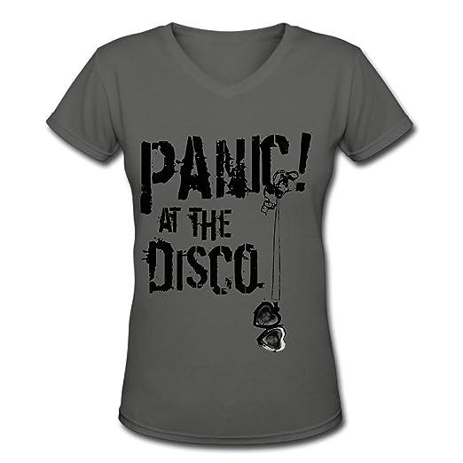 508e7a2a Amazon.com: Panic! At The Disco Logo Tour Woen's Novelty V-Neck T-Shirts:  Clothing