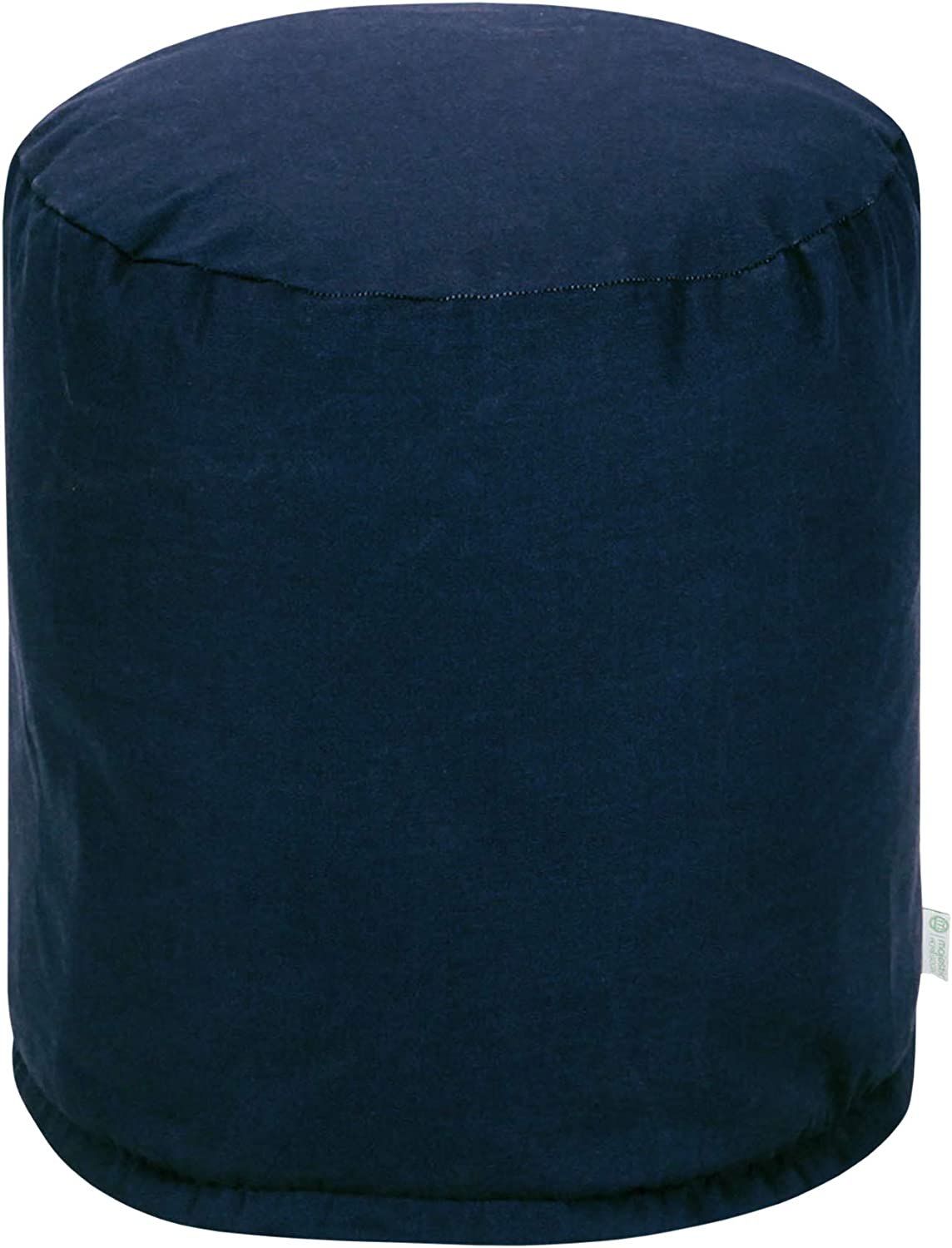 Majestic Home Goods Navy Blue Solid Indoor//Outdoor Bean Bag Ottoman Pouf 16 L x 16 W x 17 H