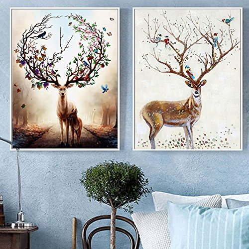 dezirZJjx Modern Canvas Painting£¬Modern Artwork Wall Art Paintings, Modern Watercolor Deer Canvas Painting Living Room Bedroom Home Wall Art Decor - 2# 40x50cm