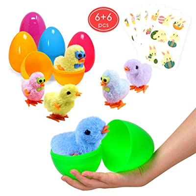 Large Surprise Eggs Filled 6 Pack Easter Eggs with Wind-Up Novelty Jumping Chics and Animal Stickers, Colorful Pre Plastic Easter Eggs For Kids Easter Basket Gifts Easter Basket Stuffers Fillers: Toys & Games