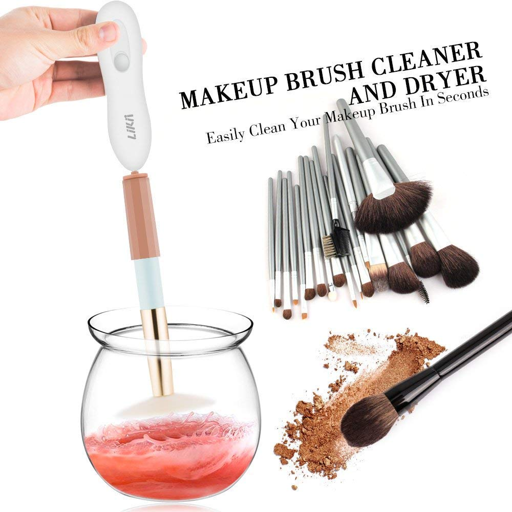 Makeup Brush Cleaner, Electric, Portable Makeup Brush Dryer Machine, Drier Deep Clean Machine 360 Degree Rotation Thorough Cleaning, with 8 Type Rubber Holder, Suitable for All Size Brushes likii
