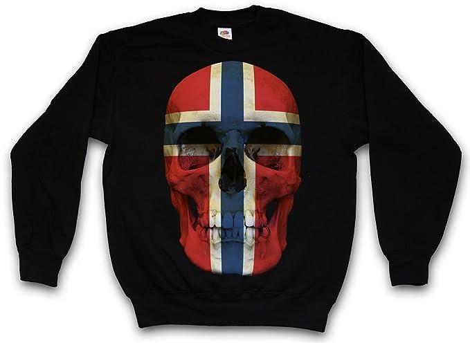 Urban Backwoods Classic Norway Skull Flag Sudadera para Hombre Sweatshirt Pullover - Bandera cráneo Schädel Banner