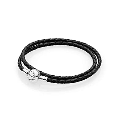 14a9438c2 PANDORA Black Braided Double-Leather Charm Bracelet (38 Centimeters); Give  Her The