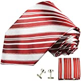 Paul Malone Necktie, Pocket Square and Cufflinks 100% Silk Red White