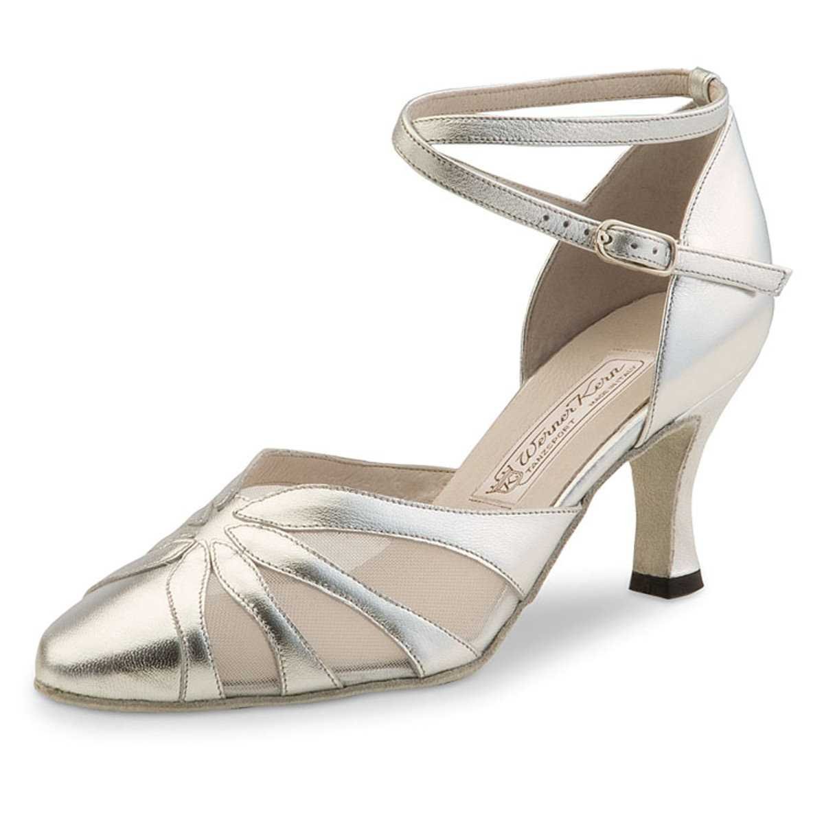 Werner Kern Femmes Chaussures de Danse Linda - Chevro Argent - 6, 5 cm Daniela 3 4