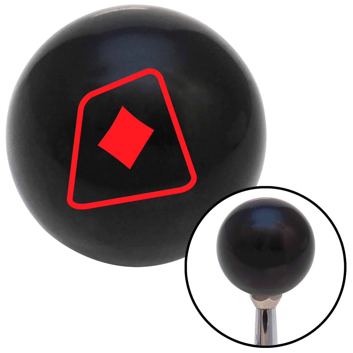 American Shifter 104212 Black Shift Knob with M16 x 1.5 Insert Red Diamonds on a Card