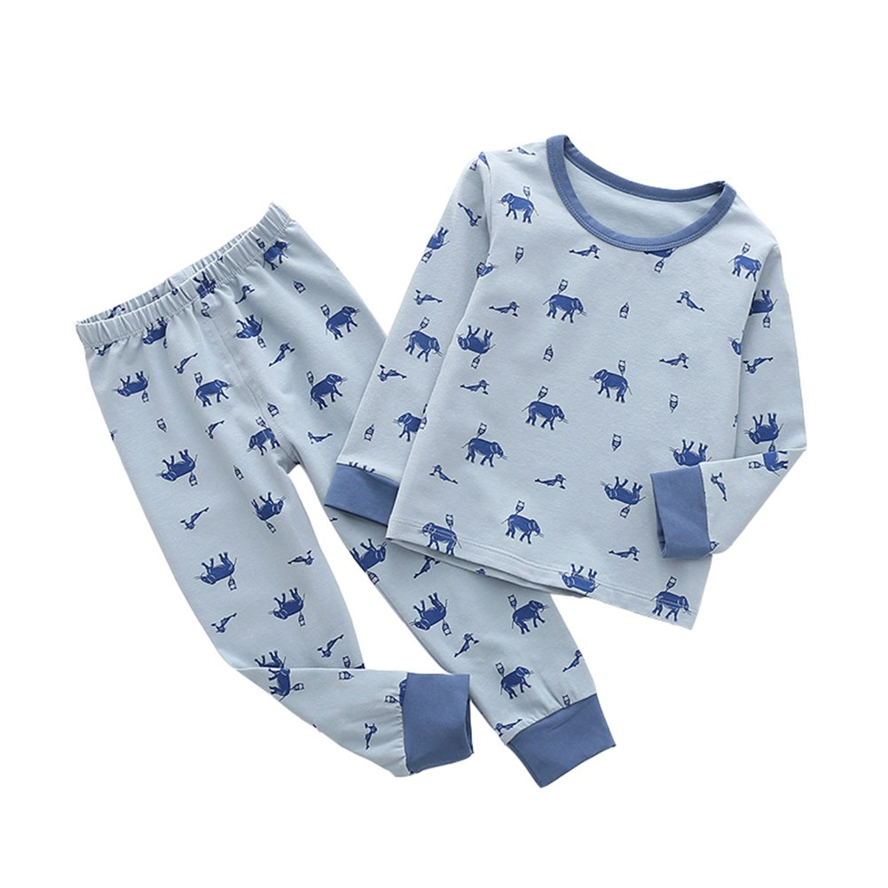 ALLAIBB Little Baby Boys Pajamas Set Elephant Cartoon Patterns Spring Fall Outfit