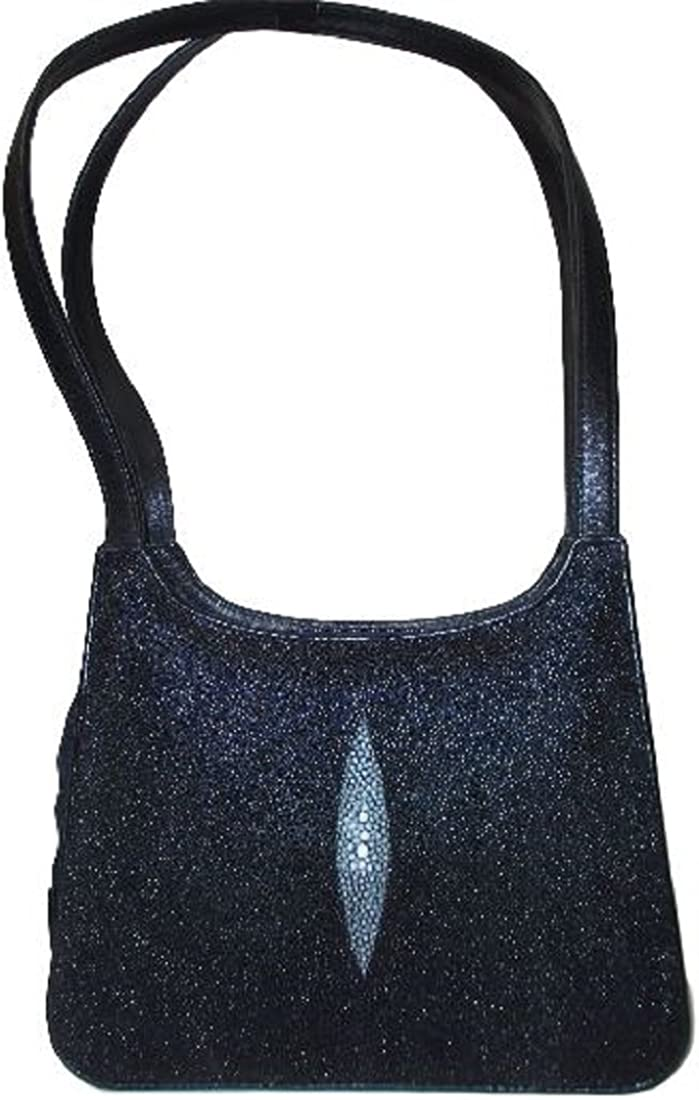 PELGIO Genuine Stingray Skin Leather Women Evening Clutch Shoulder Box Bag Black