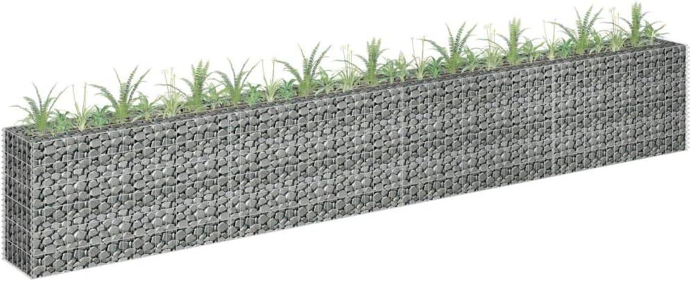 Stone Basket Planter Tidyard Gabion Planter Galvanised Steel Gabion Raised Bed 360x30x60 cm