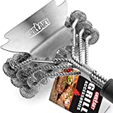 GRILLART Grill Brush Bristle Free - Safe BBQ Cleaning Grill Brush and Scraper - 18'' Best Stainless Steel Grilling Accessories Cleaner for Weber Gas/Charcoal Porcelain/Ceramic/Iron/Steel Grill Grates