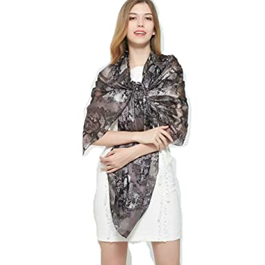 e7b71e08ff Novels-wear 2017new 100%mulberry Silk Scarf Wrap Luxury Brand Animal Print  Black Gray