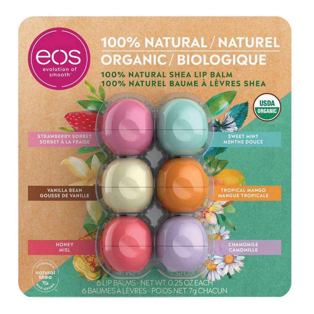 EOS 100% Natural and Organic Shea Lip Balm Sphere Variety Pack 6 Count - Strawberry Sorbet, Sweet Mint, Vanilla Bean, Tropical Mango, Honey and Chamomile by eos