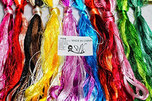 2500 Silk Art China Natural 100% Mulberry Silk Floss Handmade Embroidery Woven Jewelry Threads DIY Kits 50 Colors 336 feet SIX001 (50pcs)