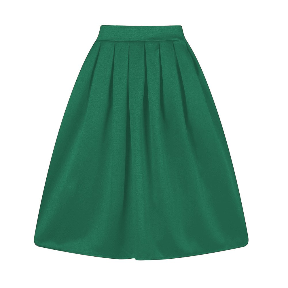 Taydey A-Line Pleated Vintage Skirts Women (2XL, Z-Green)