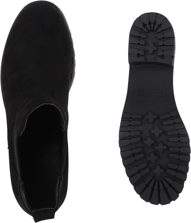 Stiefelparadies Donna Stivaletti Bassi Chelsea Boots Suola profilata Nero Bernice