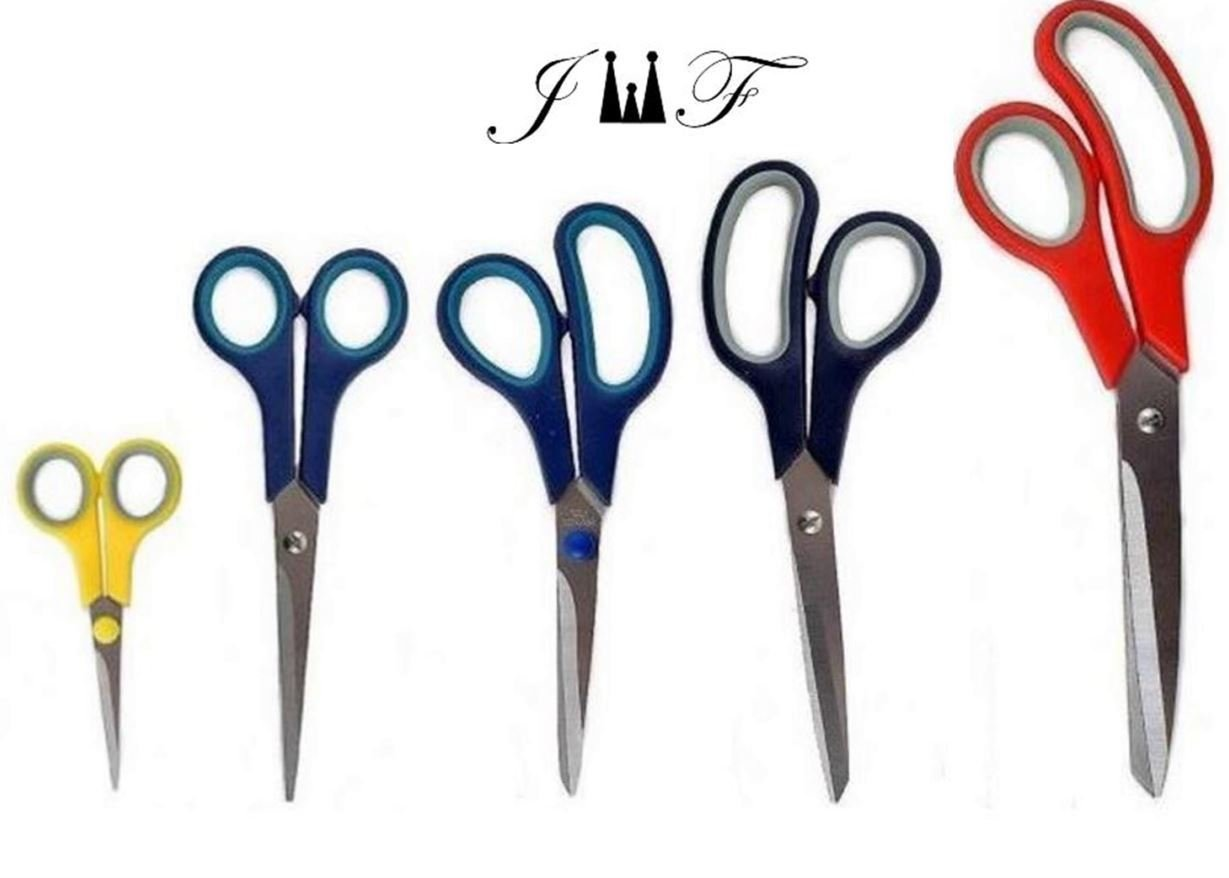 5 Value Pack Stainless Steel Multi-Purpose Scissors Set Comfort Grip Handles for Fabric,Leather,Canvas,Vinyl,Paper,Clothes,Shoes,Kitchen,Sewing,Arts and Crafts (5 Piece Value Pack)