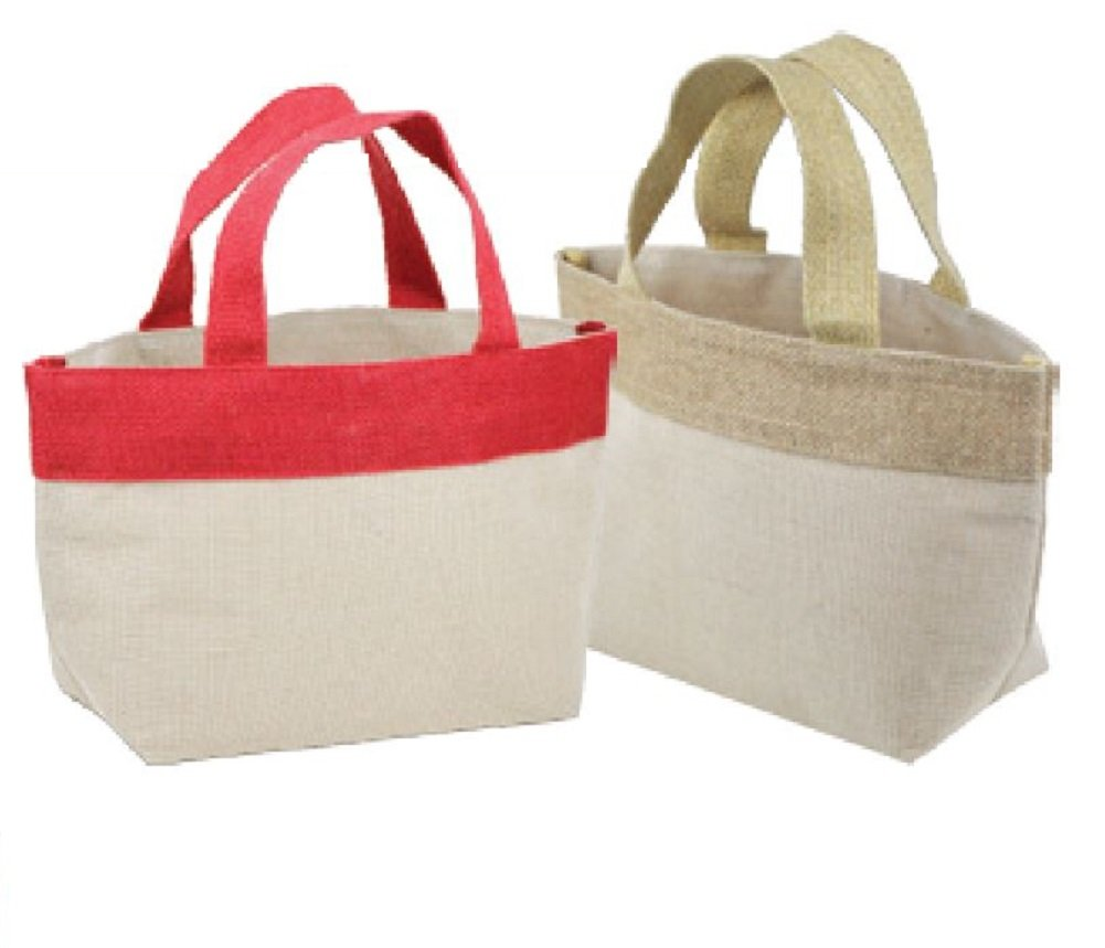 Small Natural Blend Jute Tote Bags w/ Bottom Gusset Inner Cotton Lining (Natural)