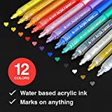 glass acrylic paint - Acrylic Paint Markers Set - Permanent Paint Pens for Plastic, Glass, Ceramic, Wood, Cloth, Rubber, Rock and any surface. 12 Water based. Water resistent