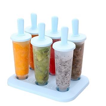 Kenmont moldes para helados, moldes hielo, moldes de silicona, set de 6 moldes, frutas frescas del jardín congeladas moho pop (Blue Mould Set): Amazon.es: ...