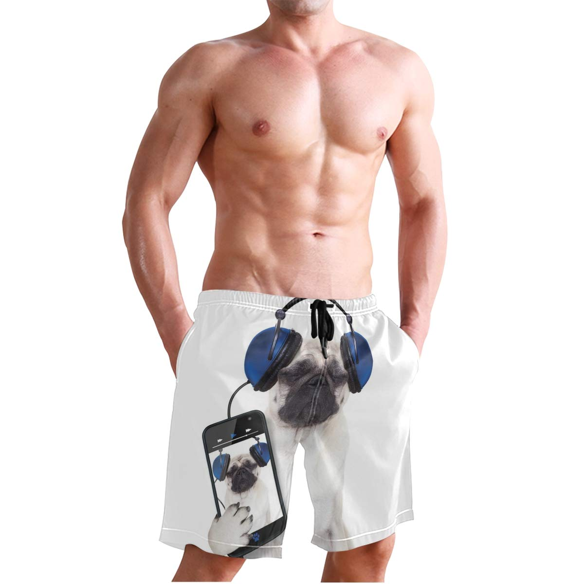COVASA Mens Summer ShortsDog Listening Music On The Smartphone Groovy Cool HEA