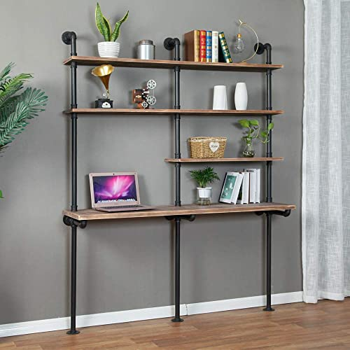 Industrial Style Laptop Desk Solid Wood Computer Desk Storage Table