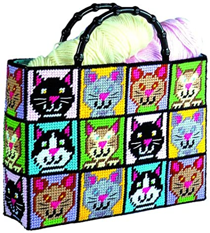 cb30234fd Amazon.com: Tobin DW1826 Cat Tote Bag Plastic Canvas Kit, 12 by 13 by 9-Inch