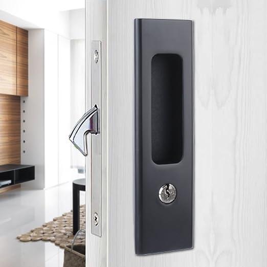 Monz Invisible pomo puerta cerraduras con llaves para puerta corrediza de madera muebles Hardware: Amazon.es: Bricolaje y herramientas