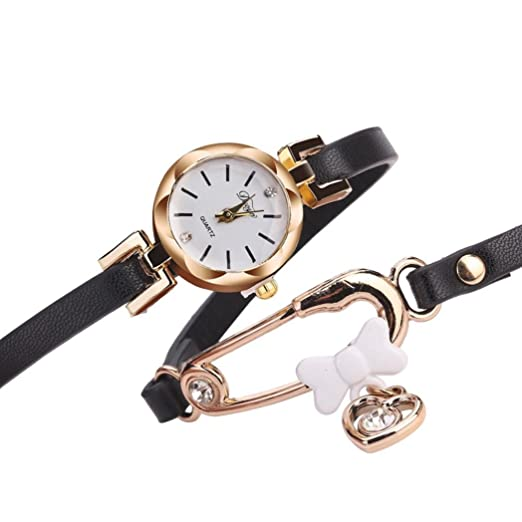 Reloj pulsera,SHOBDW Mujeres finas banda de cuero sinuoso analógico movimiento de cuarzo reloj de