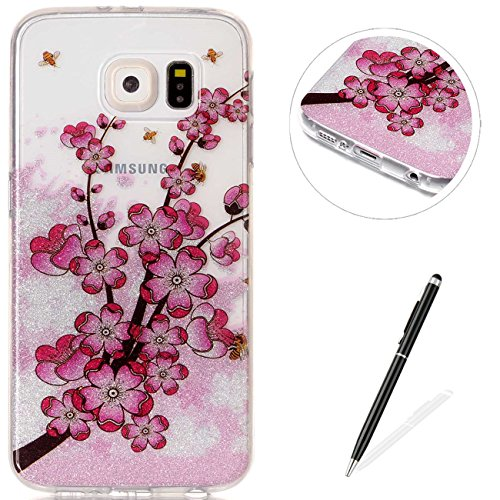 MAGQI Samsung Galaxy S6 Case Flexible Ultra Thin Soft Gel TPU[Black Stylus Pen] Bumper Protective Cover IMD Anti-Scratch Shock-Absorption Silicone for Samsung Galaxy S6-Plum Blossom