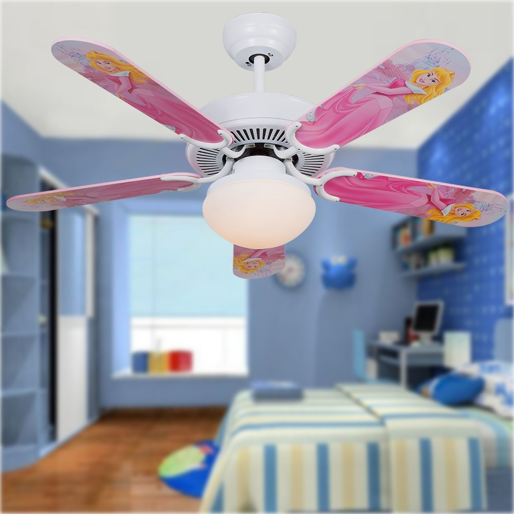 Andersonlight 42 inch LED Cartoon Child White Ceiling Fan Light 5 Fan Wood Blade 1 Light Remote Control Variable Speed Motor Scrub Glass Lamp Cover Modern Quiet Health for Baby Room Children Room by Andersonlight (Image #2)