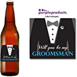 Will you be My Groomsman Beer Label Thank you for your help, Wedding Day, Marriage, Party Beer, Lager, Cider, Ale bottle label Celebration Gift, Present idea.
