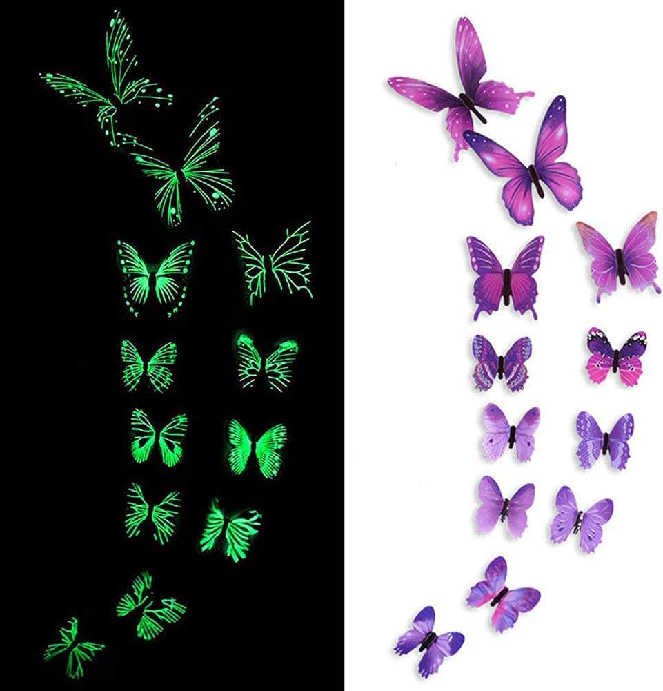 TFFWRXY Glow in The Dark 3D Butterfly Wall Decor for Girls Room Decor. Butterfly Decor can be Used Like Wall Stickers for Bedroom, Wall Stickers for Living Room (Purple-12pcs)