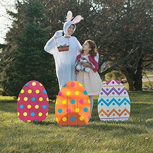 Easter Spring Eggs (ASSORTED PRINTS Set of 4 whimsical colorful large Jumbo Spring Easter Egg Yard sign garden decoration)