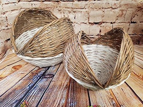 AT Set of 2 Ball Basket or Planter Half White Washed Farmhouse Patio Garden Decor