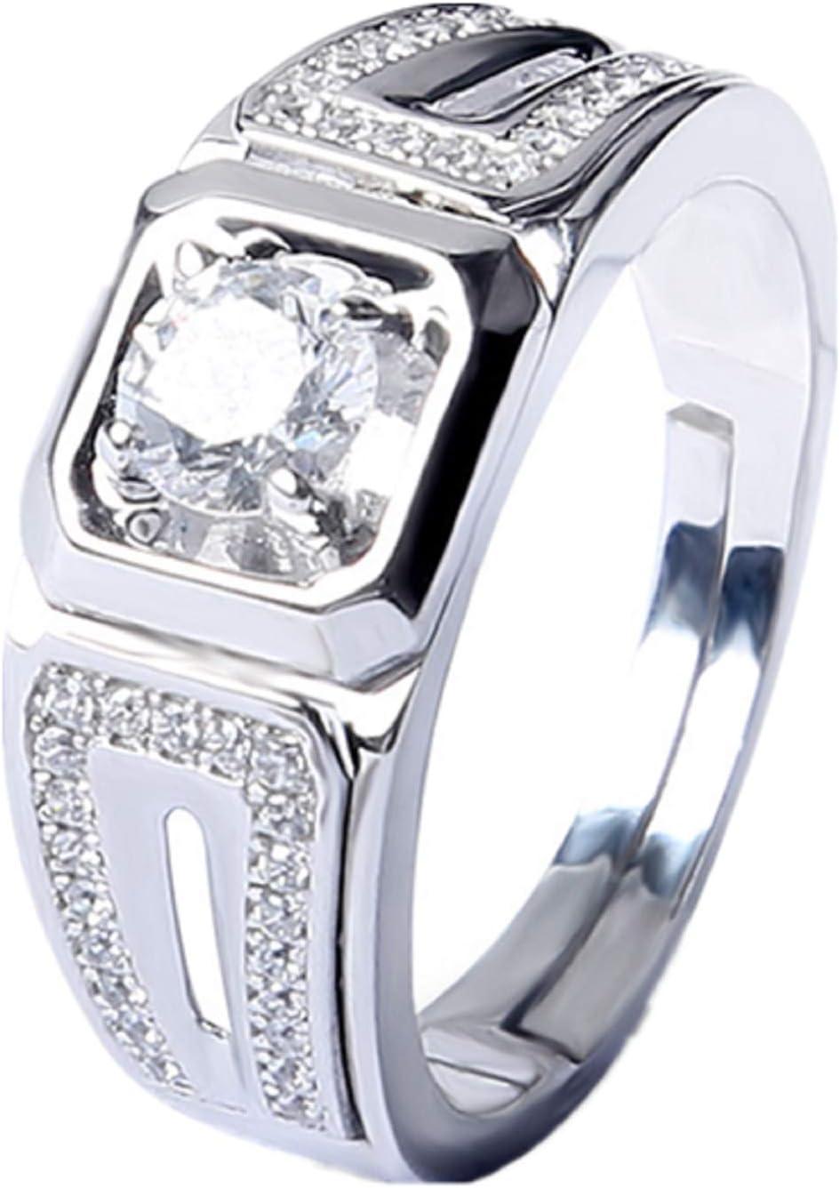 GengGeng GENG 925 Plata esterlina Corazones de Alta Gama Ocho Flechas Diamantes Set Diamantes Anillos de los Hombres,Silver