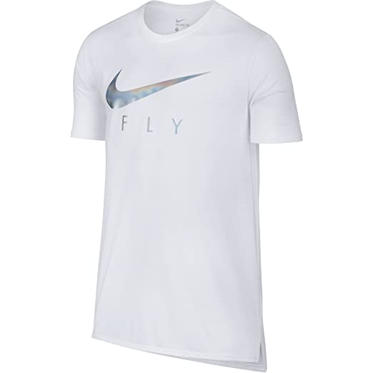 f165b1743f2e Nike Swoosh Logo Printed Fly Drop Tail Men s T-Shirt White Silver ...