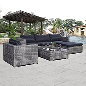 Giantex 6pc Patio Sofa Furniture Set Pe Rattan Couch Outdoor Aluminum Cushioned Gray from Giantex