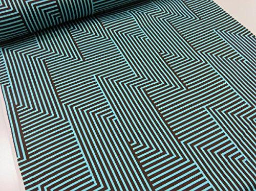 北欧風 幾何学ストライプ ミント×ブラウン オックス生地 YUWA有輪 |生地|布地|綿|コットン|の商品画像