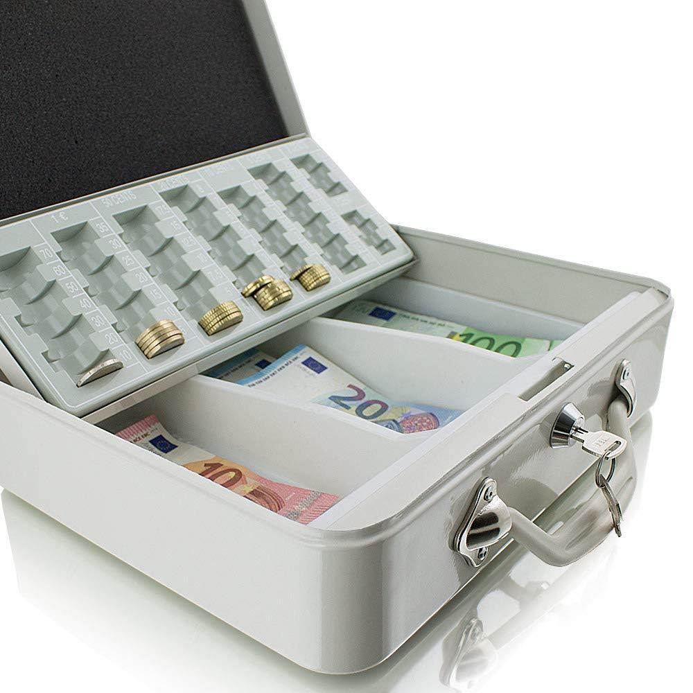 Piatto abschliessbar Transport Laser Lichtgrau Acciaio cassetta PORTAVALORI 30/cm Gross denaro valigia
