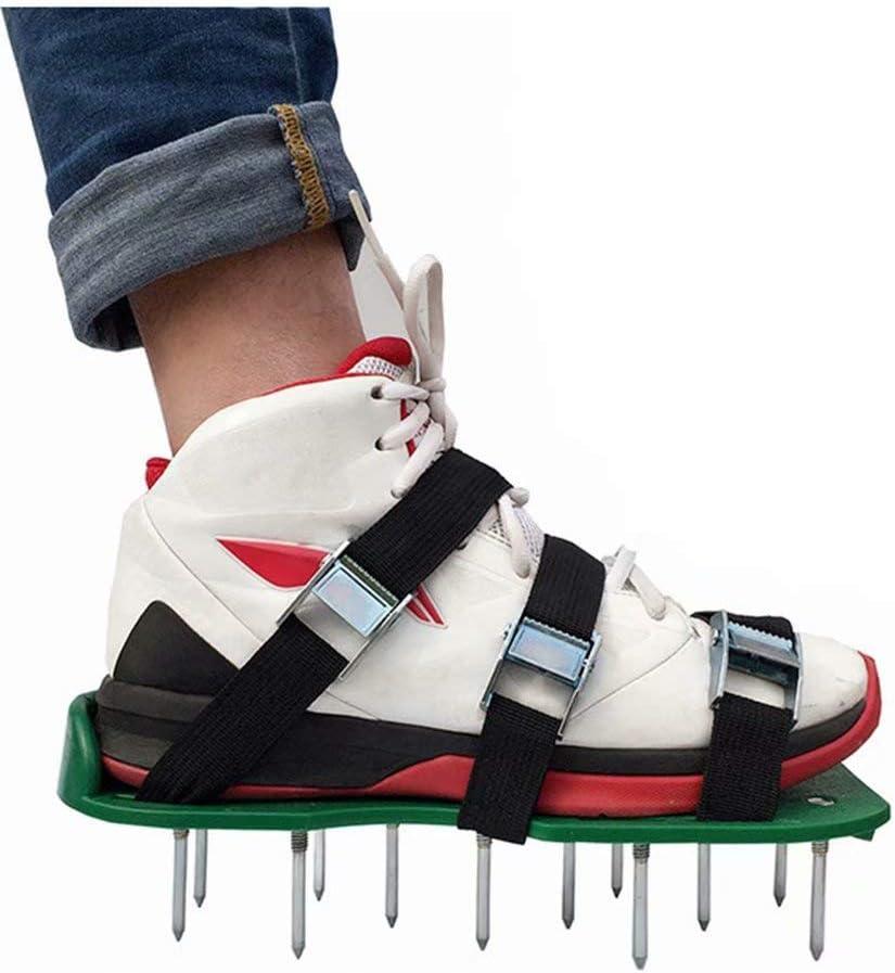 Waymeduo Escarificador de aireador de césped Aireador de césped Escarificador de césped Zapatos de uñas de césped con 3 Correas Ajustables y Metal Tamaño Universal Se Adapta a la mayoría de los