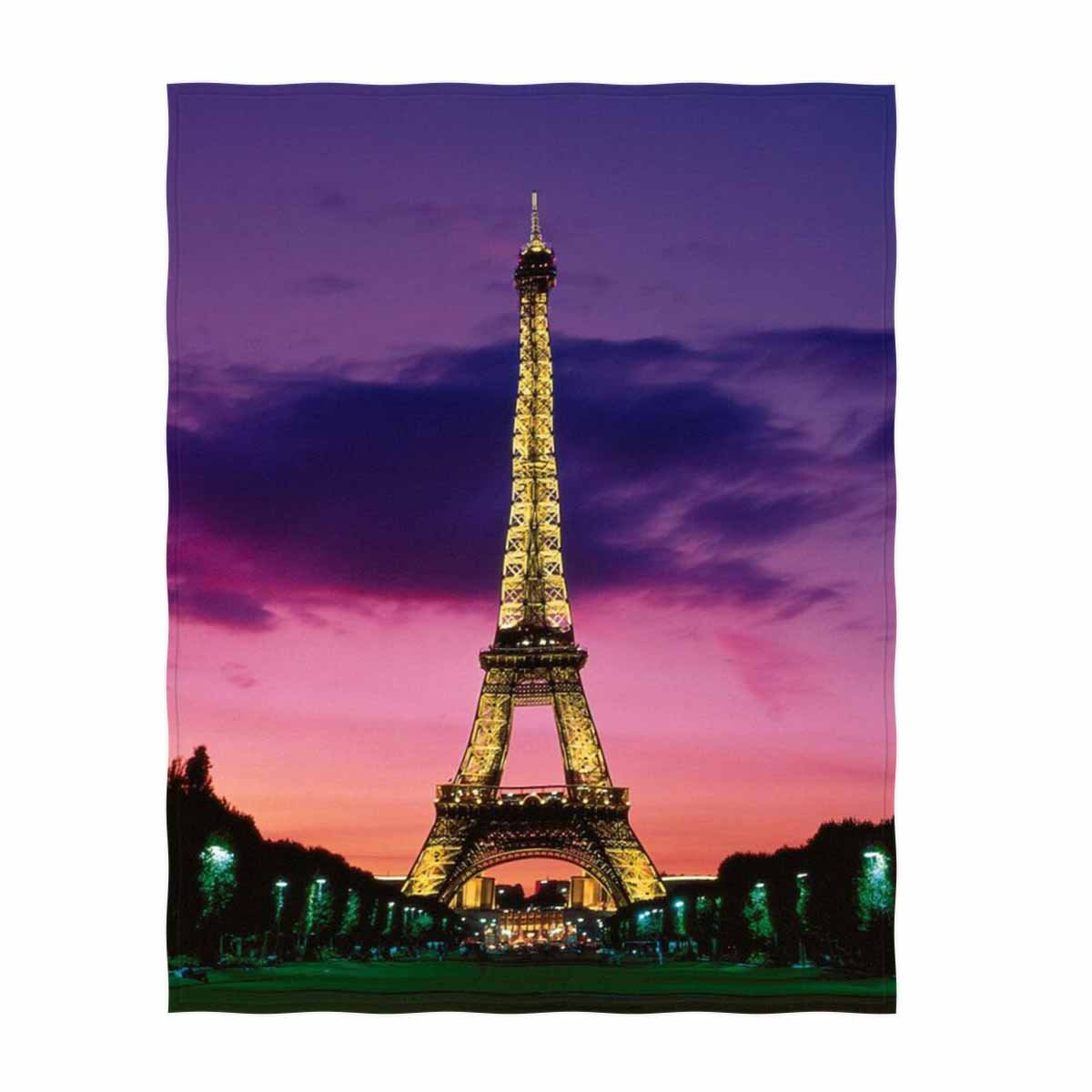 (Pattern3) - Soft Throw Blanket Custom Design Fleece Blanket Perfect for Couch Sofa or Bed Eiffel Tower Printed 150cm