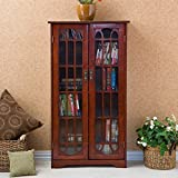 Alima Window Pane Media Cabinet, Cherry