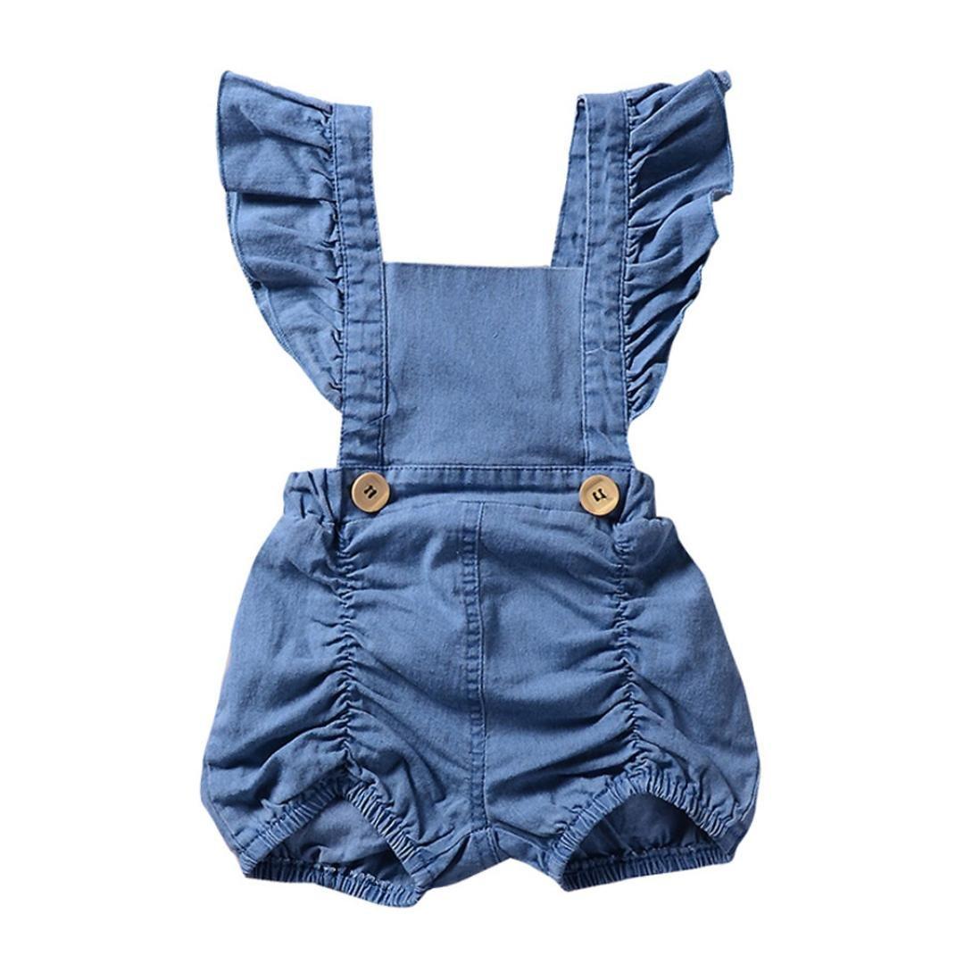 Pagliaccetto, Beauty Top Bambino Neonato Pagliaccetto Ragazze Senza Maniche Pigiama Romper Denim Ruffles Tuta Pagliaccetto Bodysuit Jumpsuit Shirt Outfits Set
