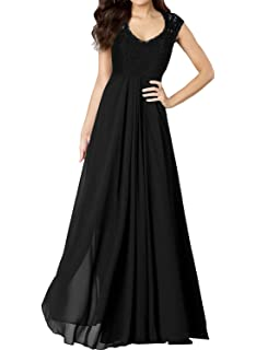 HanLuckyStars Vestido Largo Elegante de Gasa Encaje V-cuello sin Mangas para Mujer (Negro
