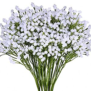 "Supla Pack 2 Baby's Breath Artificial 14 Forks,Total of 882 White Blooms Babys Breath Bulk Flower Bush Gypsophila Artificial in White -15.7"" Tall for Wedding Wreath Boutonniere Flower Crown 49"