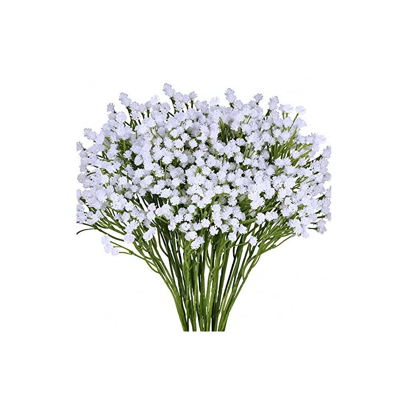 """silk flower arrangements supla pack 2 baby's breath artificial 14 forks,total of 882 white blooms babys breath bulk flower bush gypsophila artificial in white -15.7"""" tall for wedding wreath boutonniere flower crown"""
