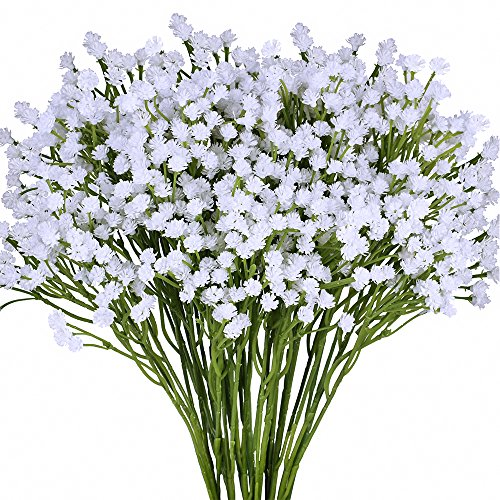 - Supla Pack 2 Baby's Breath Artificial 14 Forks,Total of 882 White Blooms Babys Breath Bulk Flower Bush Gypsophila Artificial in White -15.7