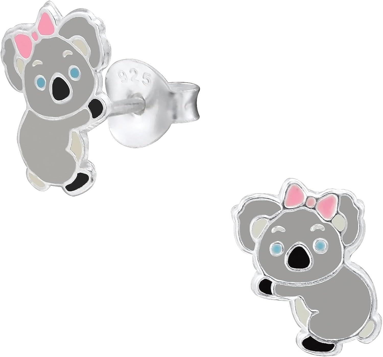 monkimau 925plata Koala oso Pendientes niños de joyas mujer mujeres chica de pendientes regalos