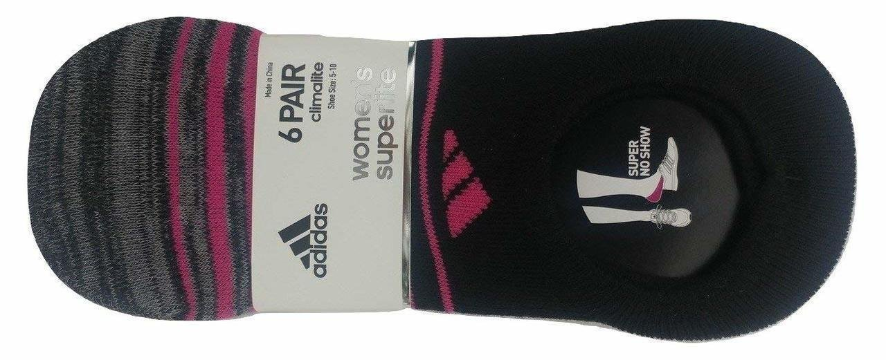 Adidas Women's Superlite Super-No Show Socks (Pack of 6), Shoe 5-10, Pink by adidas